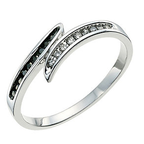 Silver Eclipse white & treated black diamond ring - Product number 9613951