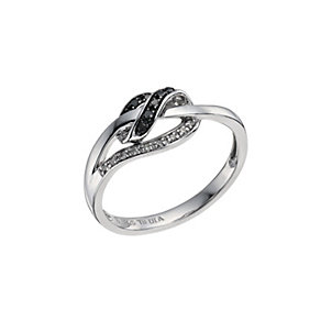 Eclipse Sterling silver white & treated black diamond ring - Product number 9614095