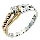 Love's Embrace Sterling Silver & Rose Gold Diamond Ring - Product number 9614494