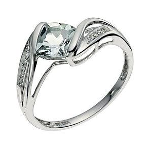 9ct white gold diamond & aquamarine ring - Product number 9615156
