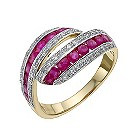 9ct yellow & white gold 1/4 carat diamond & ruby ring - Product number 9615288