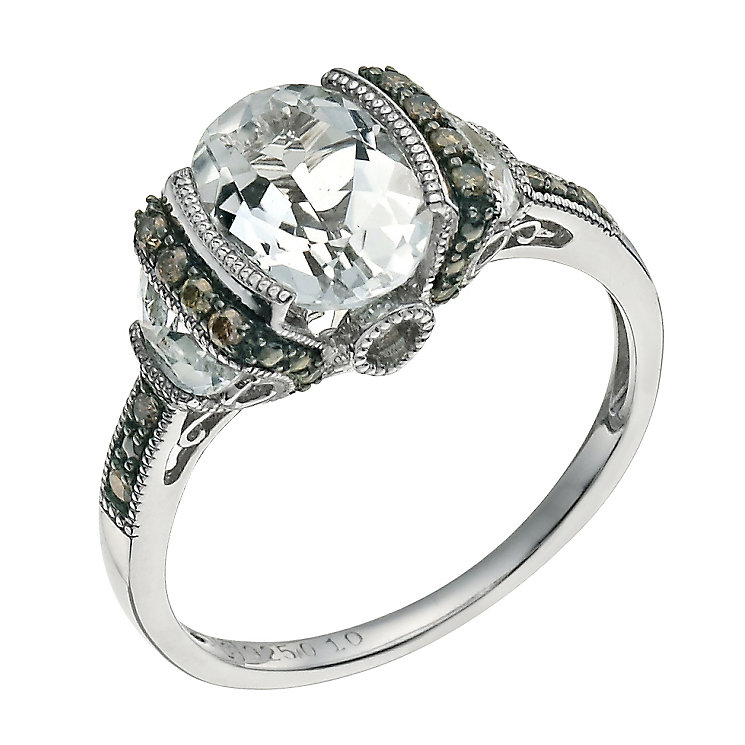 Sterling silver white topaz & brown diamond cocktail ring - Product number 9615687