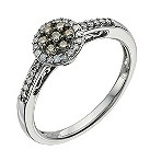 Sterling silver 1/4 carat brown & white diamond ring - Product number 9615954