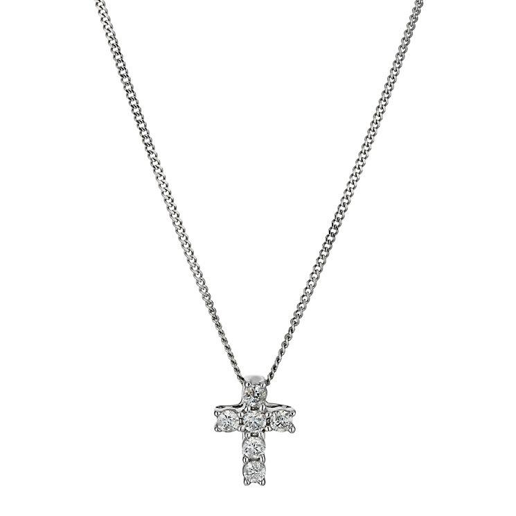 9ct white gold diamond cross pendant - Product number 9616128