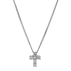 9ct white gold diamond cross pendant - Product number 9616128