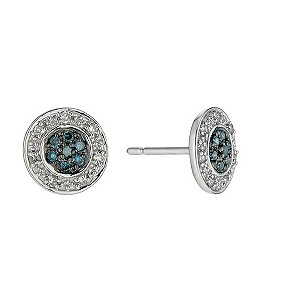 9ct white gold white & treated blue diamond earrings - Product number 9616225