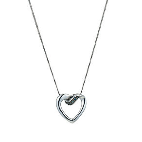 9ct white gold treated blue diamond open heart pendant - Product number 9616241
