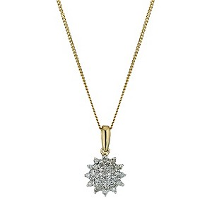 9ct yellow gold flower diamond cluster pendant - Product number 9616306
