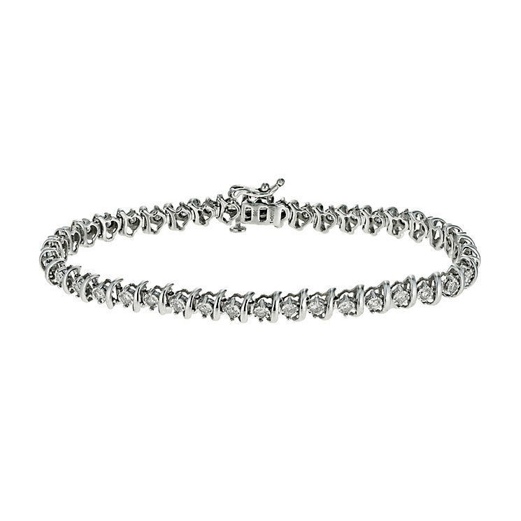 9ct white gold 1 carat diamond bracelet - Product number 9616365