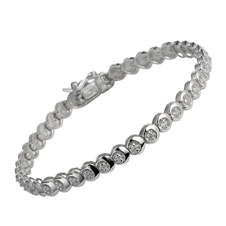 9ct white gold three quarter carat diamond C link bracelet - Product number 9616438