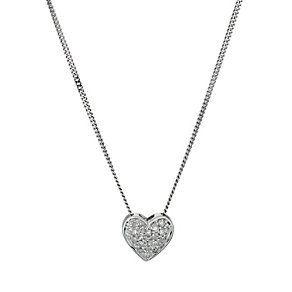 9ct white gold pave set diamond heart pendant - Product number 9616446