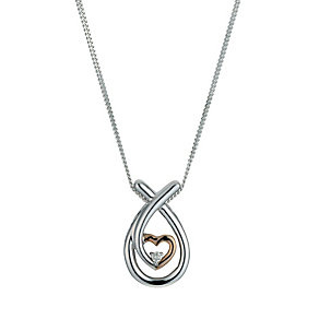 9ct rose gold and sterling silver diamond set heart pendant - Product number 9616489