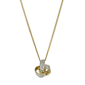 9ct yellow gold diamond set knot pendant - Product number 9616527