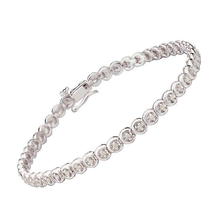 9ct white gold half carat diamond C link bracelet - Product number 9616543