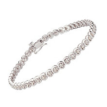 9ct white gold half carat diamond C link bracelet - Product number 9616543