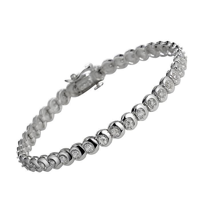 9ct white gold one carat diamond C link bracelet - Product number 9616551