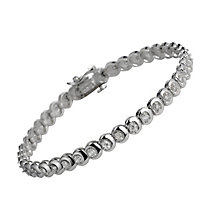 9ct white gold one carat diamond C link bracelet - Product number 9616551