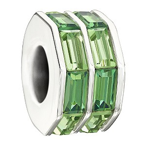 Chamilia silver double baguette cut green bead - Product number 9616632