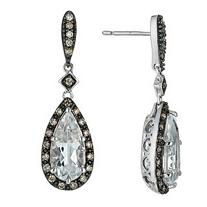 Silver white topaz & brown diamond pear earrings - Product number 9616675