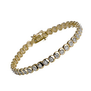 9ct gold one carat diamond C link bracelet - Product number 9616896