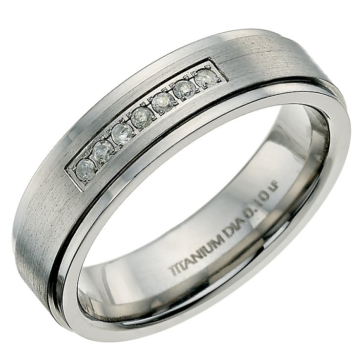 Titanium matt & polished diamond set ring - Product number 9617264