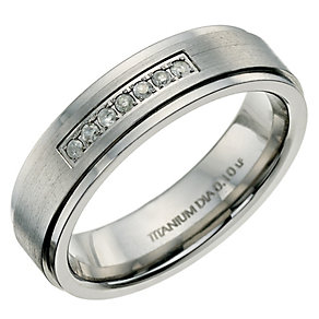 Titanium matt & polished diamond set ring - Product number 9617264