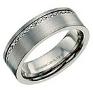 Titanium matt & polished diamond set ring - Product number 9617396