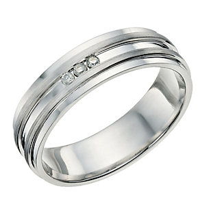 Silver & diamond groove ring - Product number 9618597