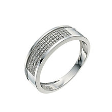 Men's 9ct White Gold 0.22ct Diamond Pave Set 6mm Ring - Product number 9619240
