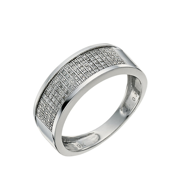 9ct white gold 30 point diamond pave set ring - Product number 9619372
