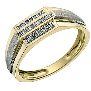 9ct yellow & white gold pave set diamond ring - Product number 9619518