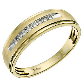 9ct yellow gold channel set diamond ring - Product number 9619631