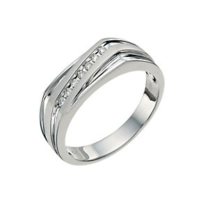 9ct white gold diamond set diagonal stripe ring - Product number 9619763
