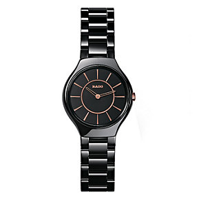 Rado True Thinline ladies' black ceramic bracelet watch - S - Product number 9620575