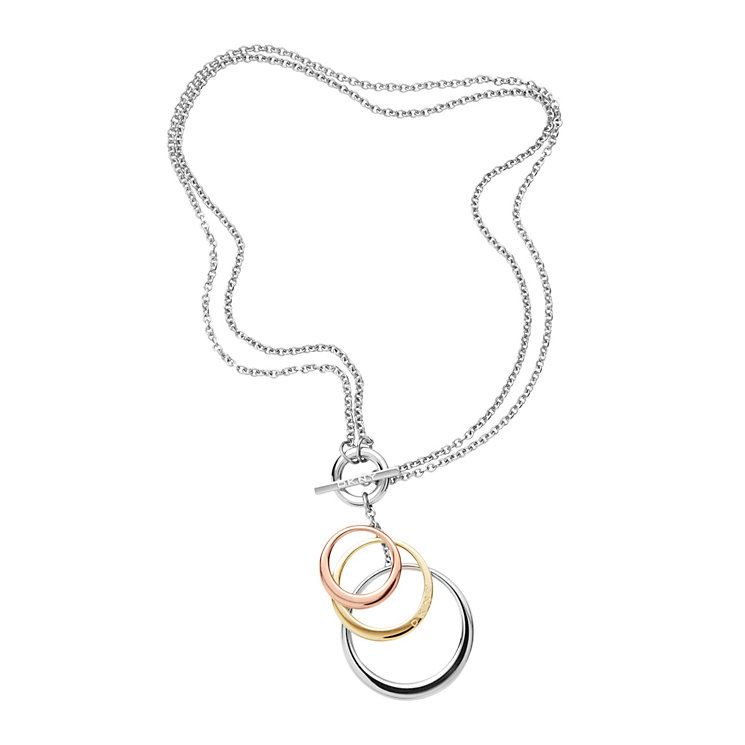 DKNY Stainless Steel & Gold-plated 3 Colour Circle Pendant - Product number 9620753