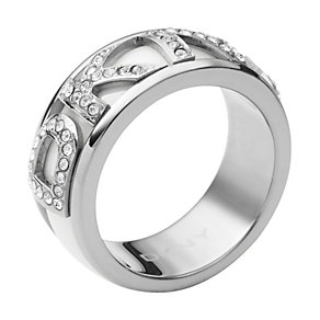 DKNY Stainless Steel Stone Set Logo Ring - Product number 9620796