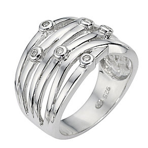 Sterling silver & scattered diamond ring - Product number 9621032