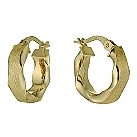 9ct yellow gold matt & polished twist creole earrings - Product number 9621172