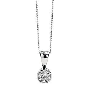 9ct white gold quarter carat diamond rubover pendant 18