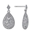 Sterling silver diamond pear drop earrings - Product number 9621261