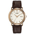 Citizen Eco Drive men's gold plated leather strap watch - Product number 9621733