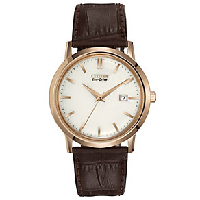 Citizen Eco-Drive men's gold plated leather strap watch - Product number 9621733