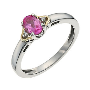 Silver & 9ct Gold Pink Sapphire & Cubic Zirconia Oval Ring - Product number 9622527