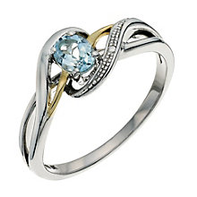 Sterling Silver & 9ct Gold Blue Topaz Swirl Ring - Product number 9623078