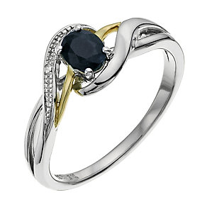 Sterling Silver & 9ct Gold Sapphire Swirl Ring - Product number 9623205