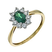 Silver & 9ct Gold Emerald & Cubic Zirconia Cluster Ring - Product number 9623493