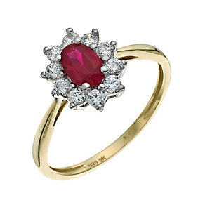 Silver & 9ct Gold Ruby & Cubic Zirconia Cluster Ring - Product number 9623825