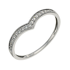 9ct White Gold Cubic Zirconia Wishbone Ring - Product number 9624562