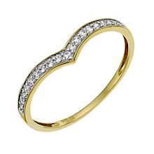 9ct Gold Cubic Zirconia Wishbone Ring - Product number 9624856