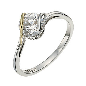 Sterling Silver & 9ct Gold Cubic Zirconia Wrap Ring - Product number 9624996